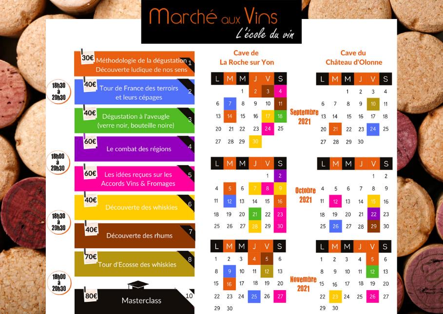 Planning école du vin Vendée