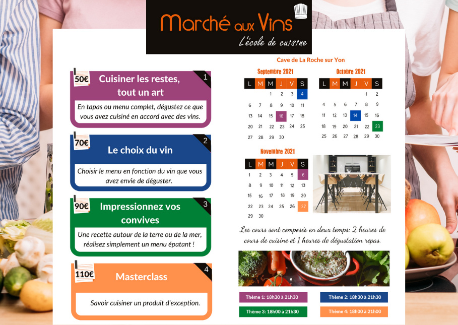 Cours cuisine Vendée
